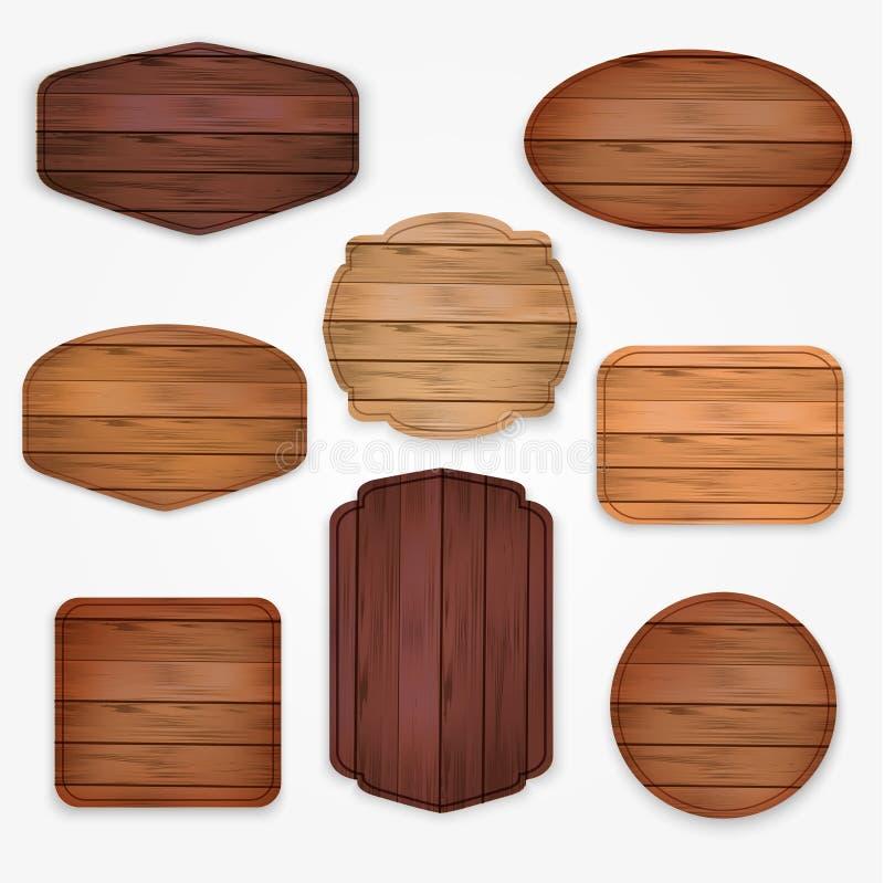 Collection en bois de label d'autocollants L'ensemble de signe en bois de diverses formes embarque pour des autocollants de vente illustration stock