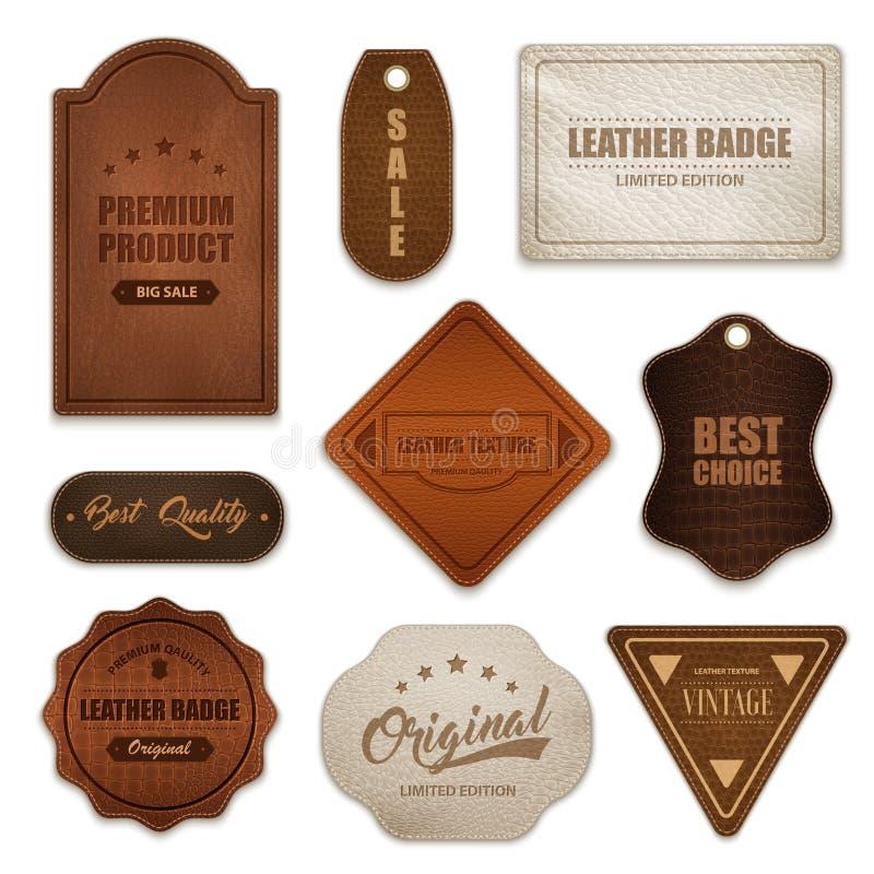 Collection en cuir réaliste de labels d'insignes illustration de vecteur