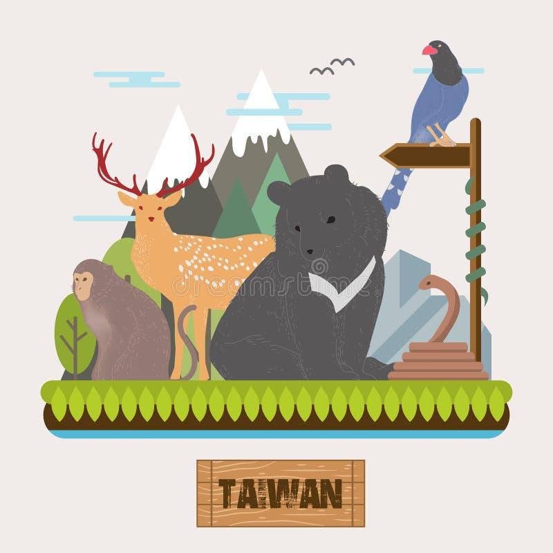 Collection endémique adorable d'espèces de Taïwan illustration libre de droits