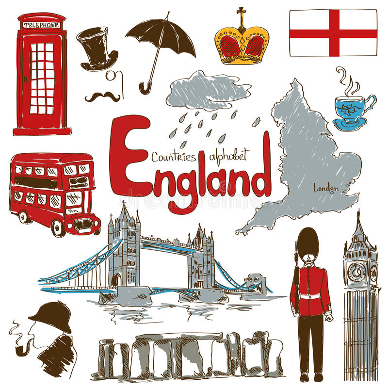 Collection Of England Icons Stock Vector