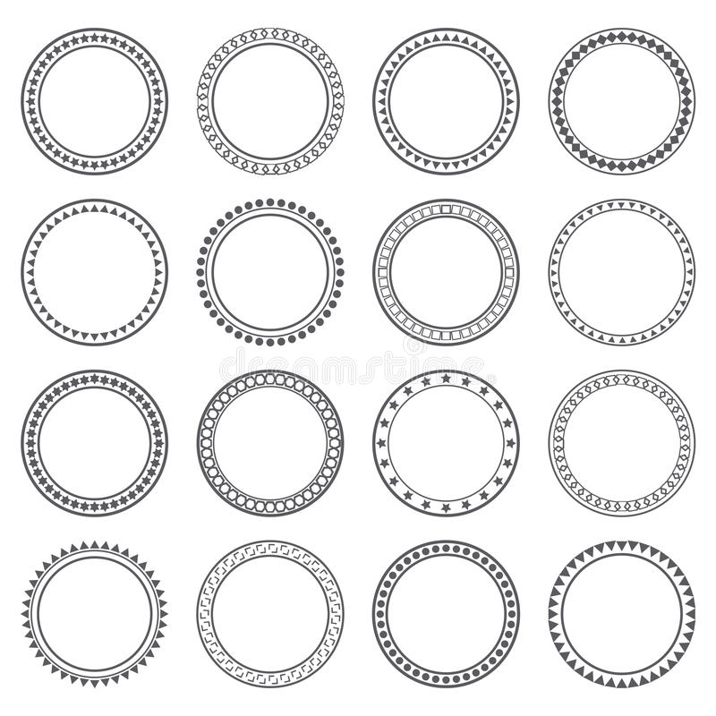 Collection of ethnic borders. Round frames. Decoration elements stock illustration