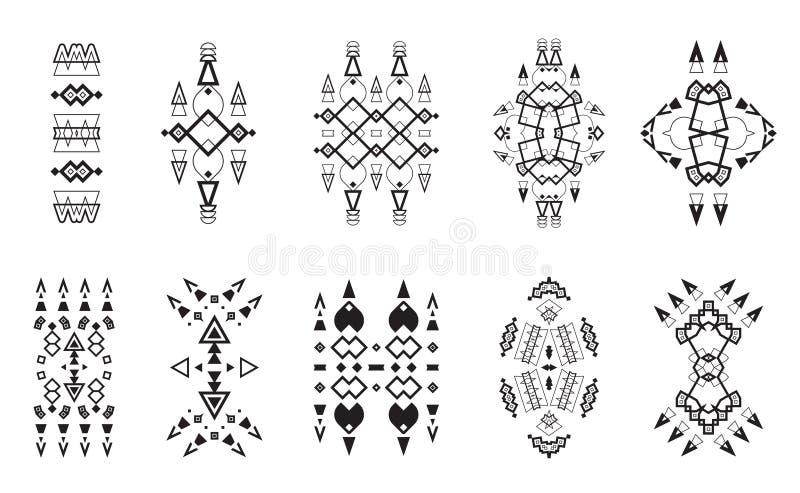 Collection ethnique tribale d'ensemble d'éléments, Aztèque Art Design illustration de vecteur