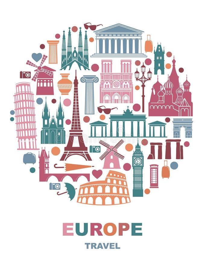 Collection of Europe detailed silhouettes. Set Travel Landmarks in the form of a circle. Vector illustration vector illustration