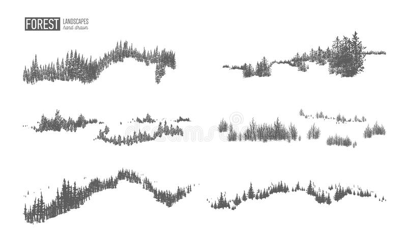 Collection of evergreen forest landscapes with silhouettes of coniferous trees growing on hills hand drawn in black and vector illustration