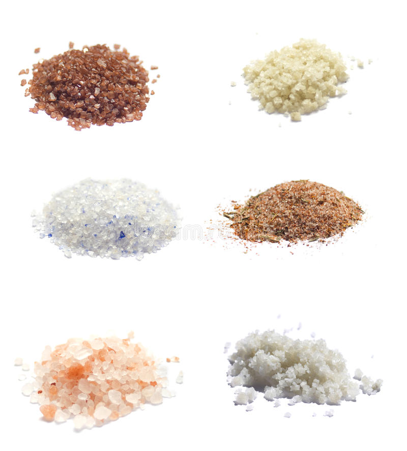 Download Collection Of Exotic Sea Salts Isolated On White Stock Image - Image: 24280517