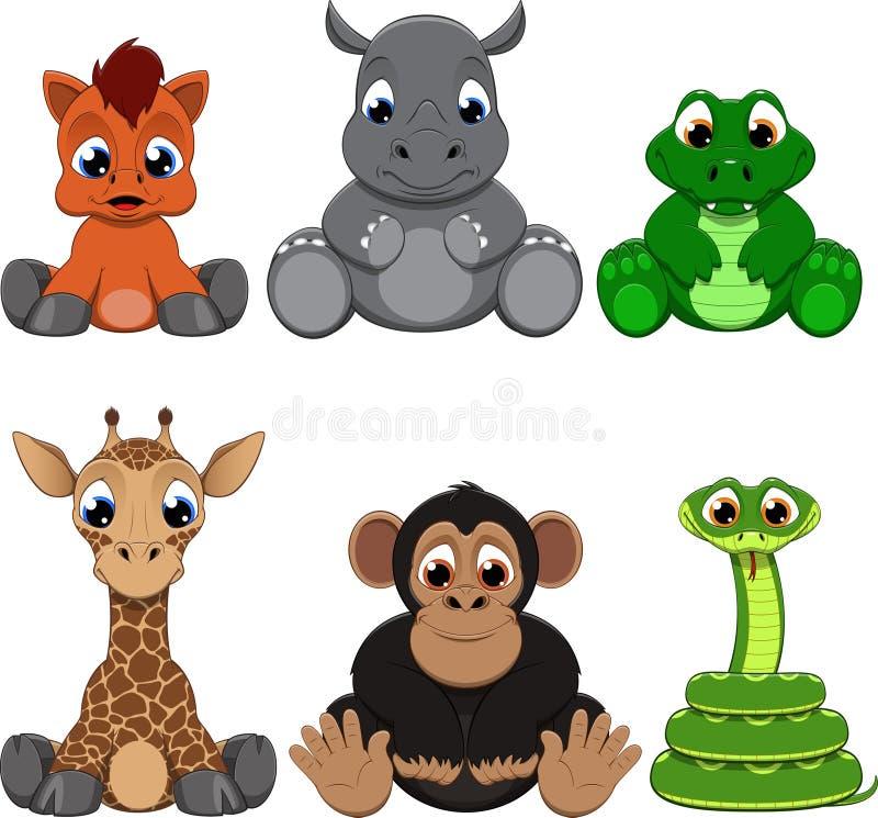 Collection exotique colorée mignonne d'animaux illustration de vecteur