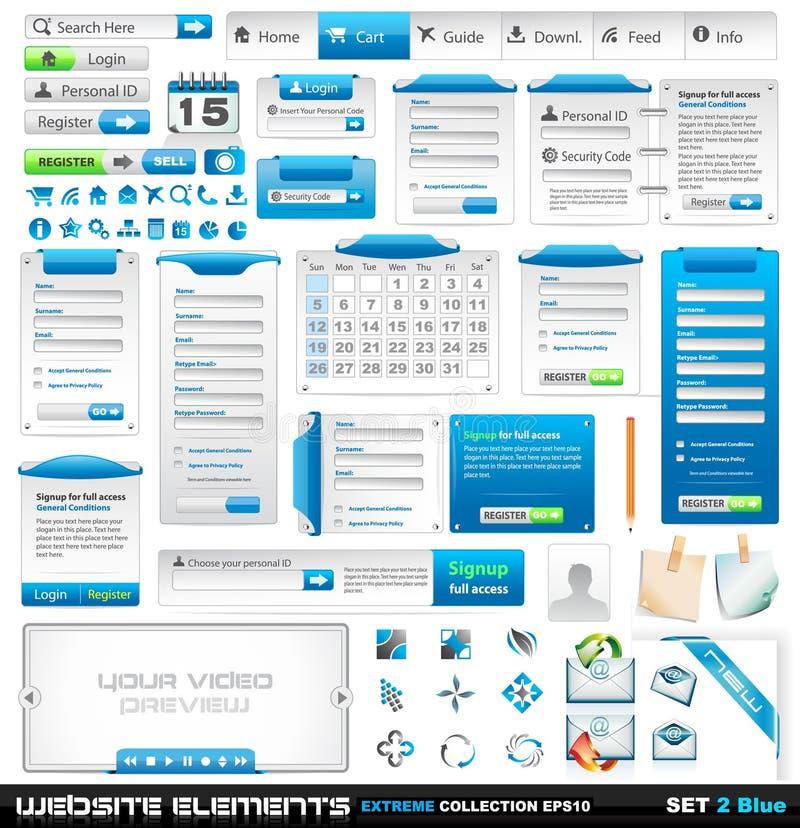 Collection extrême 2 d'éléments de conception de Web illustration libre de droits