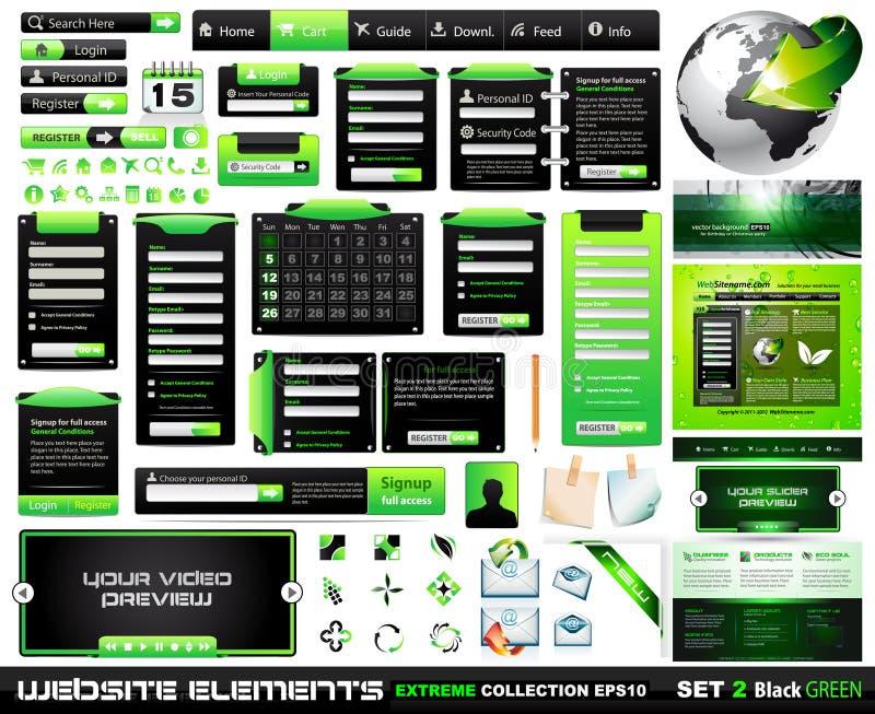 Collection extrême BlackGreen d'éléments de conception de Web illustration stock