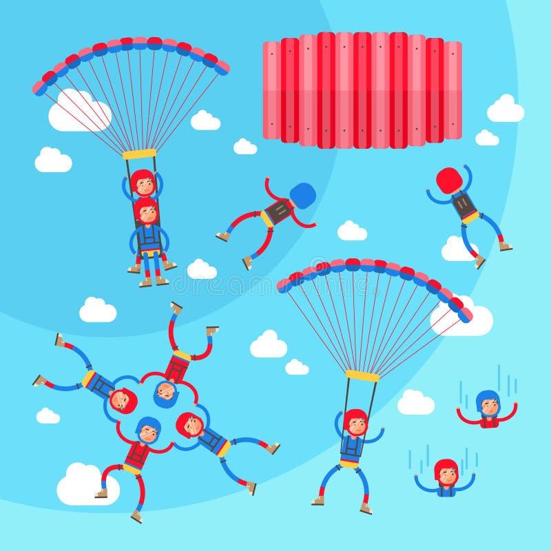 Collection extrême d'illustration de vecteur de parachutisme de sport de vols solos, de tandem et de groupe illustration stock