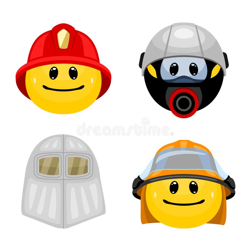 Vector set of emoticons in firefighter clothes. royalty free illustration