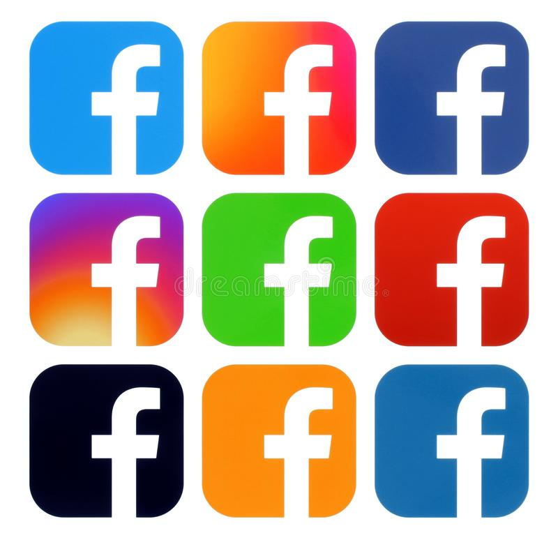 Collection of Facebook color logos. Kiev, Ukraine - Aplril 25, 2019: Collection of Facebook color logos, printed on white paper. Facebook is a well-known social vector illustration