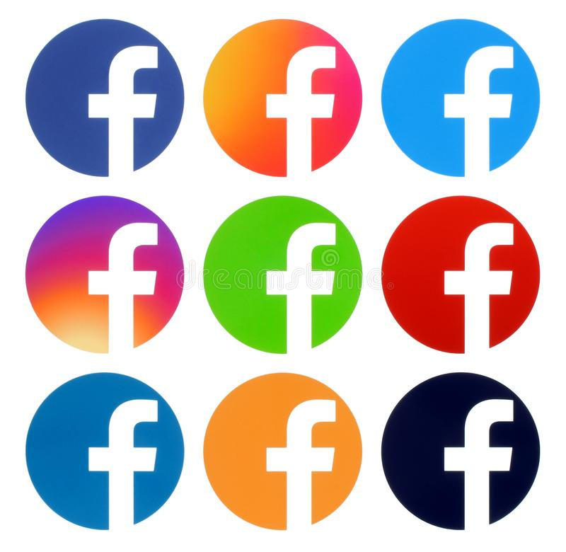 Collection of Facebook color round logos. Kiev, Ukraine - Aplril 25, 2019: Collection of Facebook color round logos, printed on white paper. Facebook is a well royalty free illustration