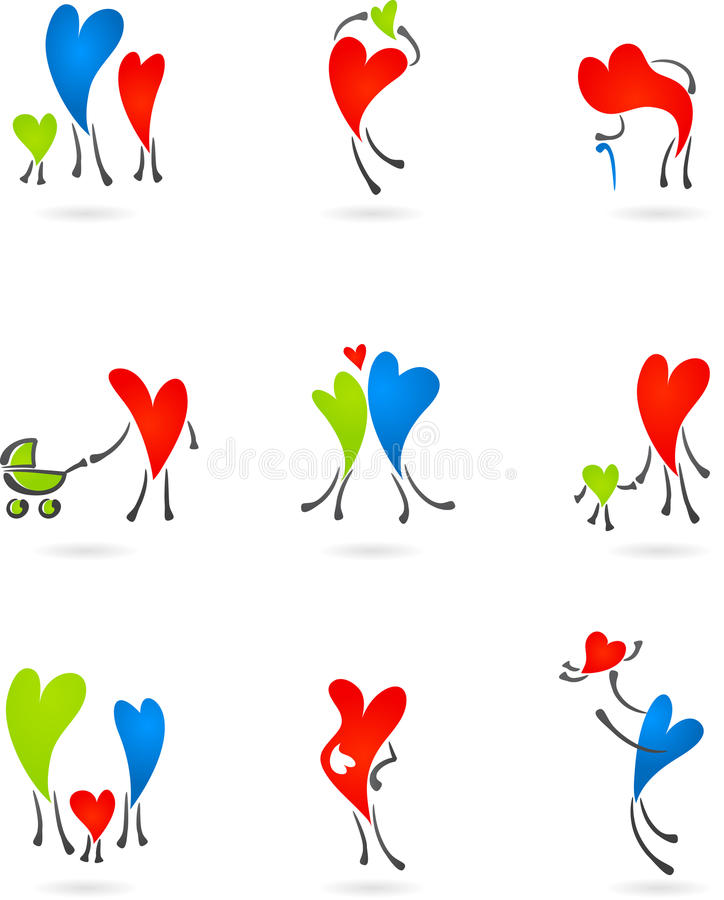 Download Collection Of Family Heart Silhouettes Stock Vector - Image: 14104640