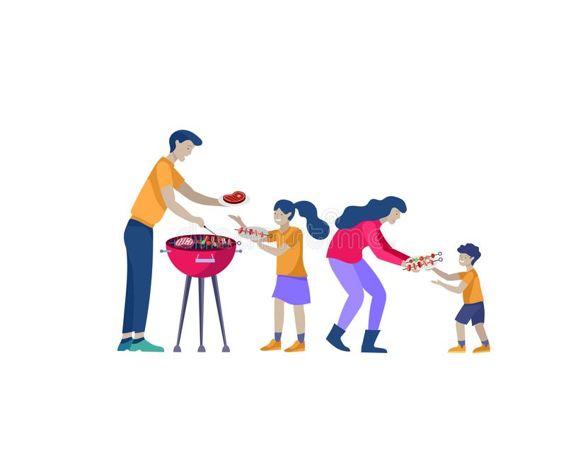 Collection of family hobby activities. Mother, father and children preparing barbecue together. Cartoon vector vector illustration