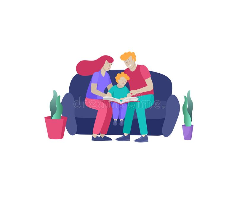 Collection of family hobby activities . Mother, father and children read book and teach child. Cartoon. Illustration royalty free illustration