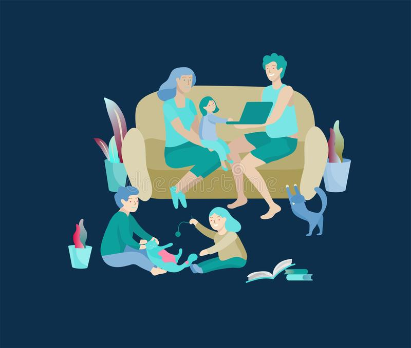 Collection of family hobby activities. Mother, father and children relaxing at home together, kids play with cat. Cartoon vector illustration stock illustration