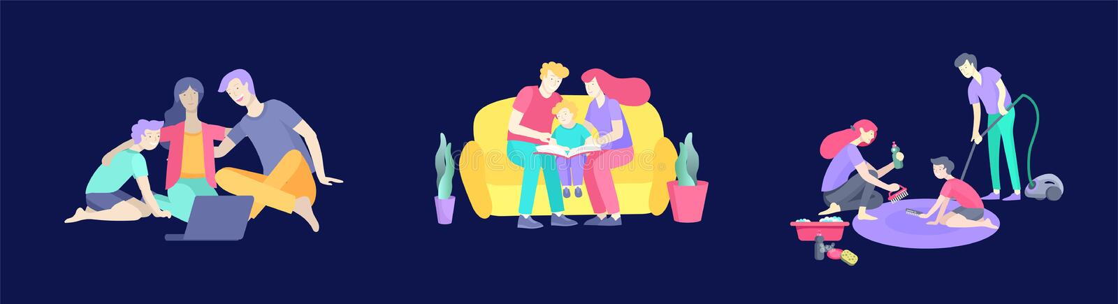 Collection of family hobby activities . Mother, father and children teach cleaning home, read book and teach child, watching a. Movie on laptop. Cartoon royalty free illustration