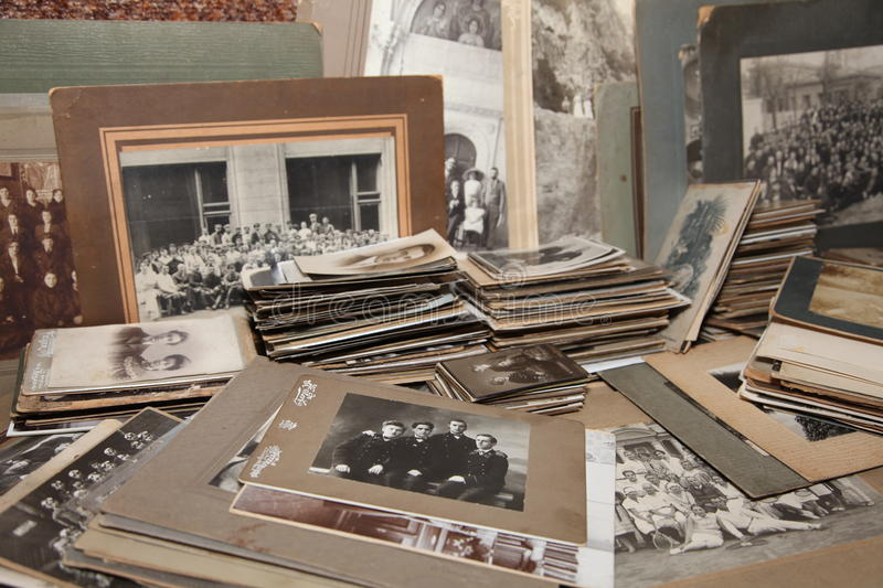 A collection of family photos from the 1800's to 1940's stock photos