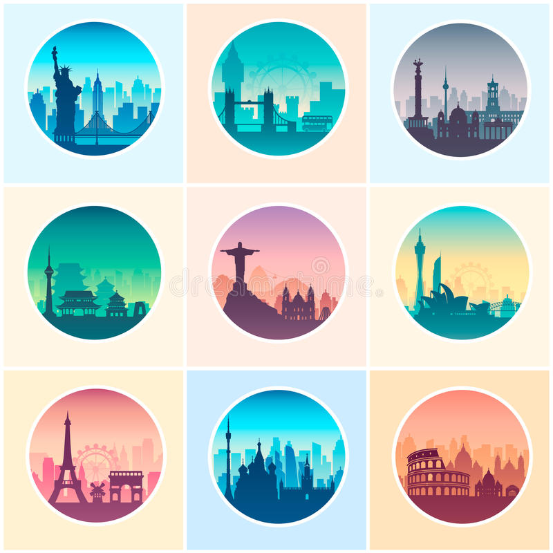 Collection of famous city capes. royalty free illustration