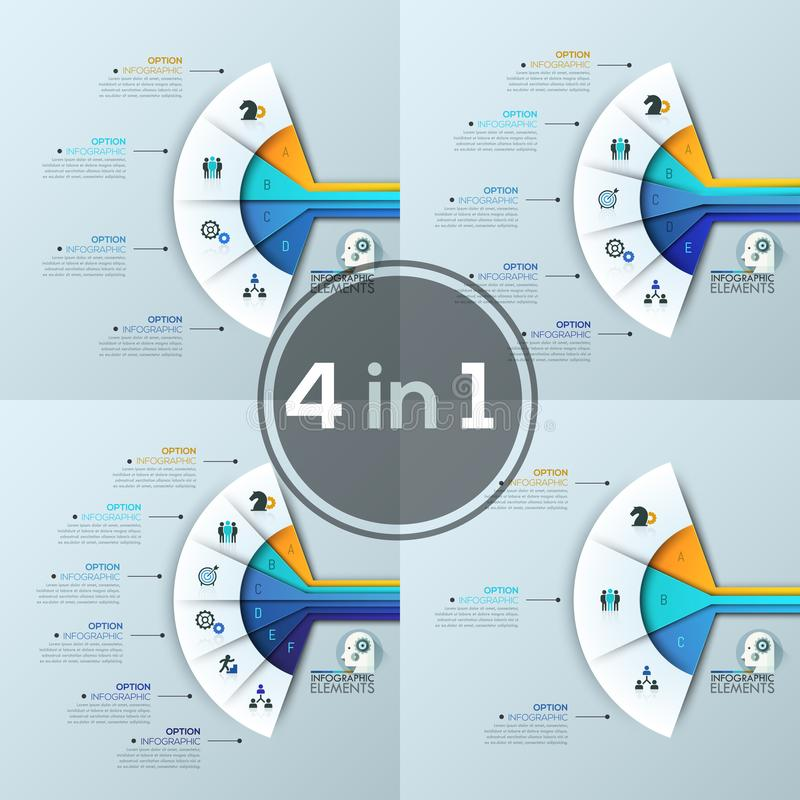 Collection of 4 fan charts with sectoral lettered elements, thin line icons and text boxes. Features of business project. Modern infographic design templates stock illustration
