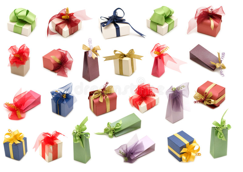 Collection Fancy Gift Boxes Stock Photography