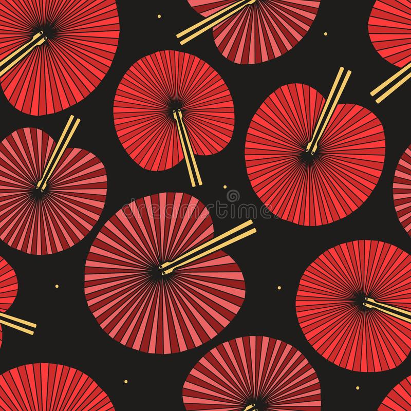 Fans, colorful seamless pattern. Decorative background with asian traditional accessories stock illustration