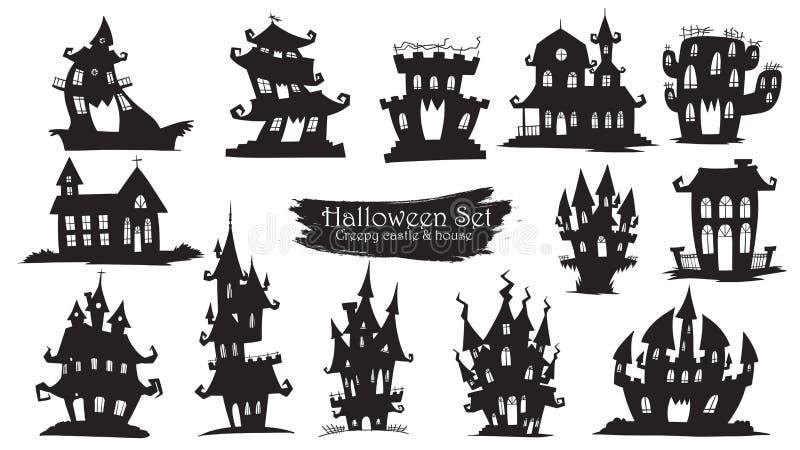 Collection fantasmagorique de silhouette de château de vecteur de Halloween d'isolement illustration de vecteur