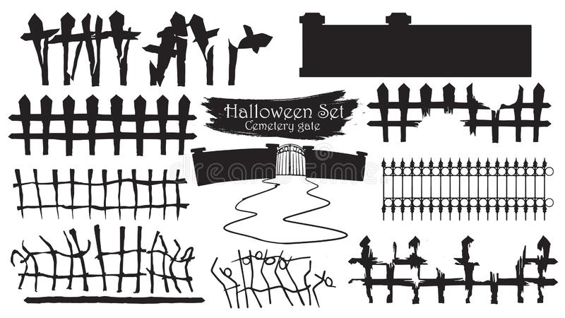 Collection fantasmagorique de silhouette de porte de cimetière du vecteur i de Halloween illustration stock