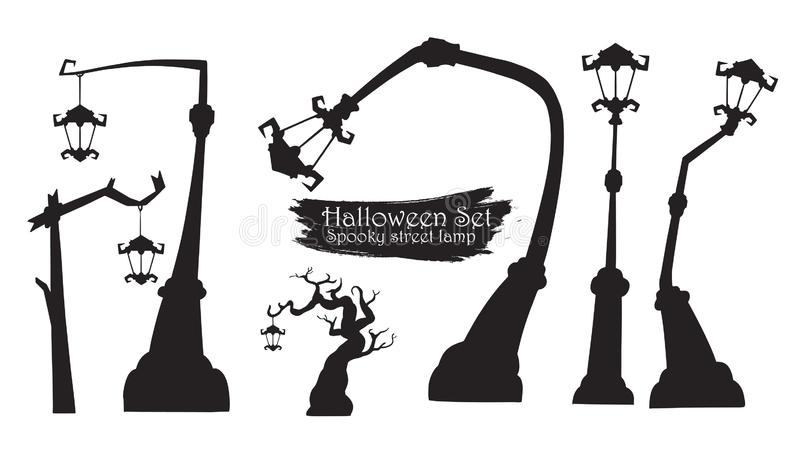 Collection fantasmagorique de silhouette de réverbère d'OIN de vecteur de Halloween illustration de vecteur