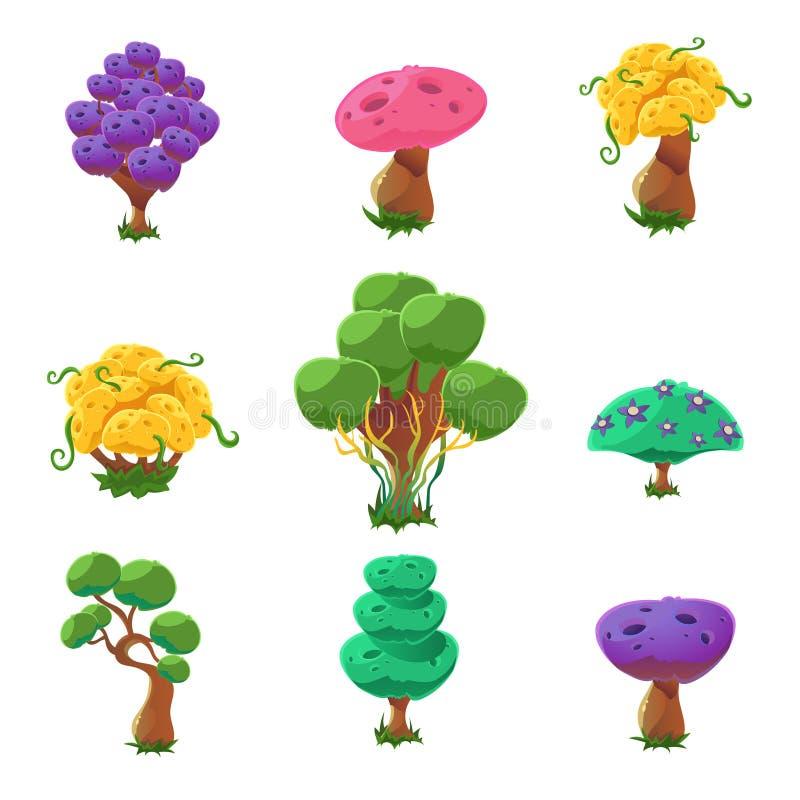 Collection fantastique d'arbres illustration de vecteur
