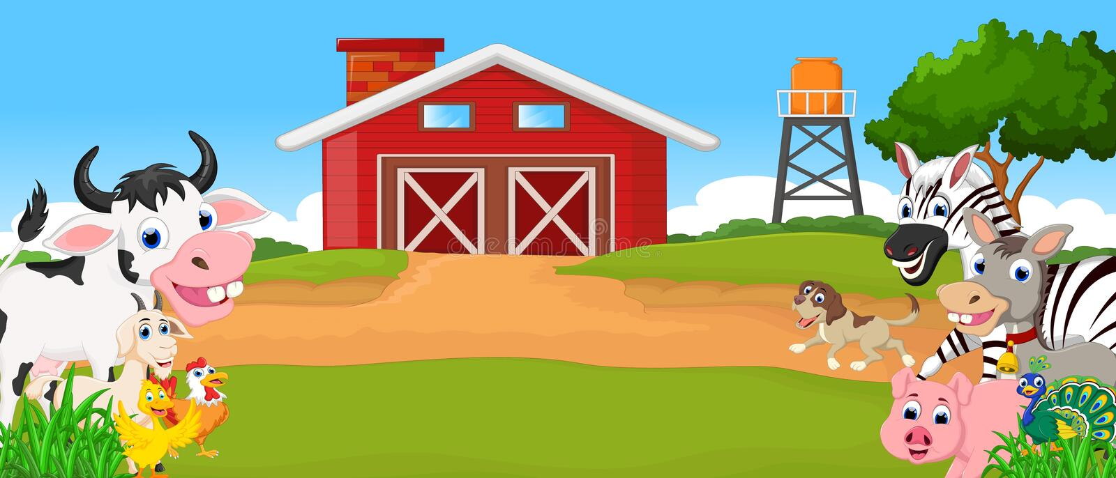 Collection farm animals with farm background vector illustration