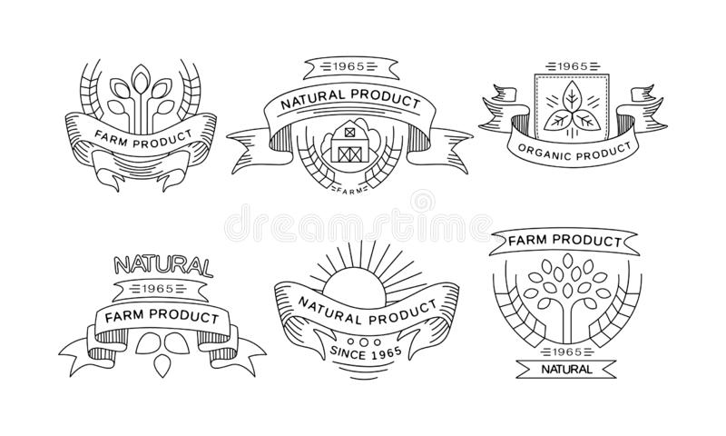 Collection of farm products logos, retro labels, emblems for farm market, natural products packaging, restaurant menu. Fresh eco frindly food vector stock illustration