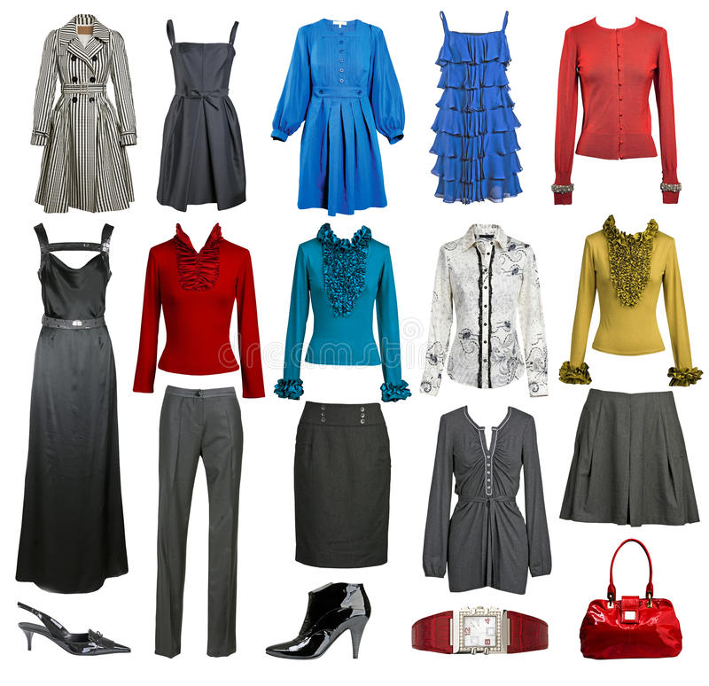 Collection fashion clothes stock photography
