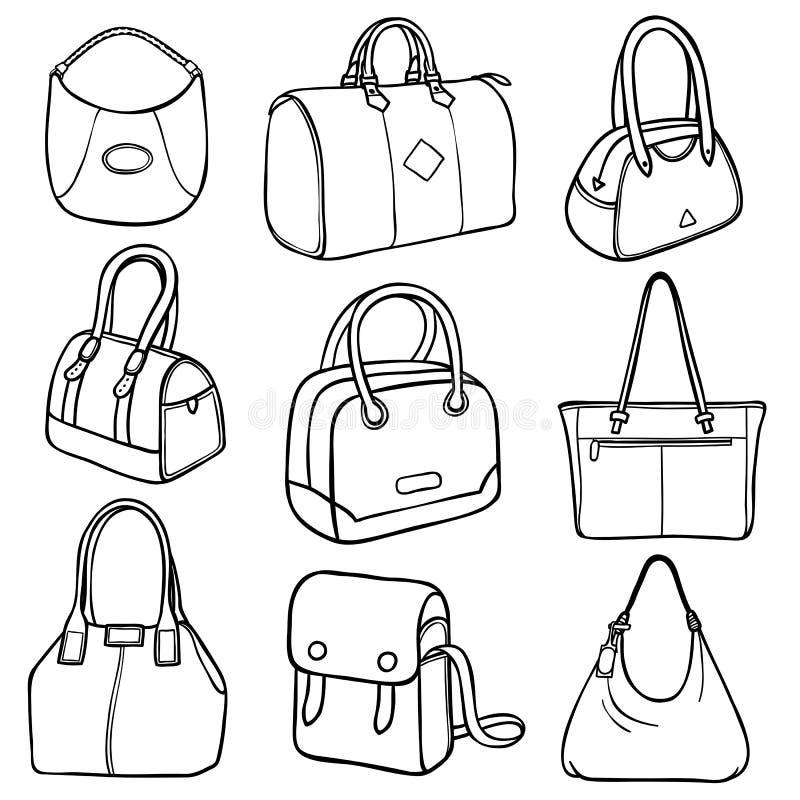 Collection of fashion handbags vector illustration