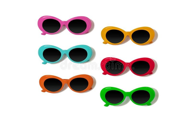 Collection of fashionable multi-colored sunglasses - a trend of stock image