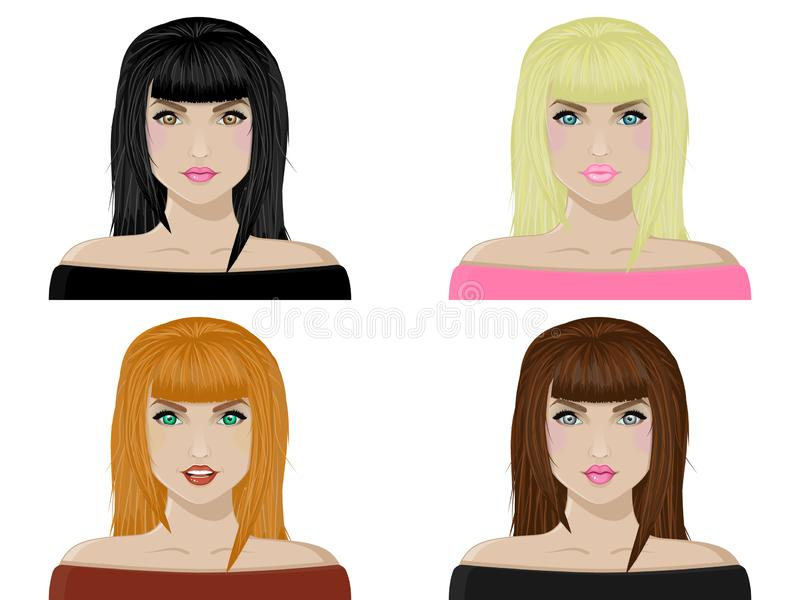 Collection of female avatars. Womens faces with different hair color, blonde, brunette, brown hair, and red hair. cute smiling girls. vector illustration stock illustration