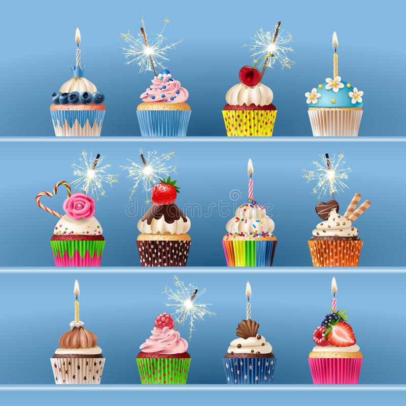 Collection of festive cupcakes with sparklers and candles. stock illustration