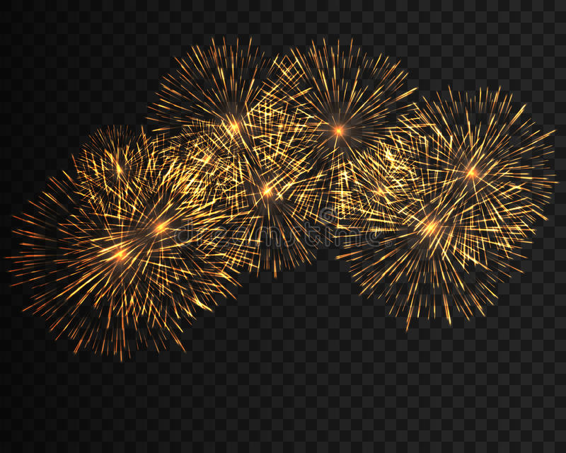 Collection festive fireworks of various colors arranged on a black background. Isolated outbreaks transparent to paste vector illustration