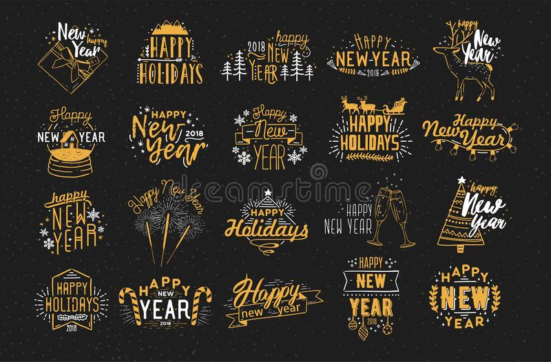 Collection of festive Happy New 2018 Year hand drawn lettering decorated with holiday elements - fireworks, champagne. Snow globe, light garland, baubles stock illustration