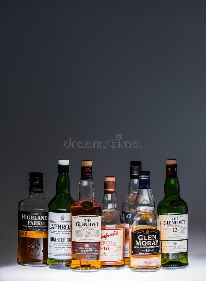 Collection of a few Popular Single Malt Scotch Bottles. royalty free stock photo