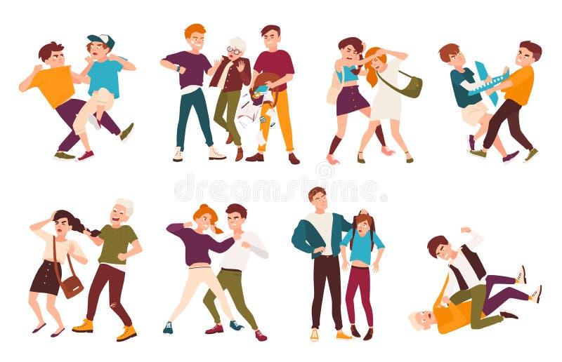 Collection of fighting children. Conflicts between kids, violent behavior among teenagers vector illustration
