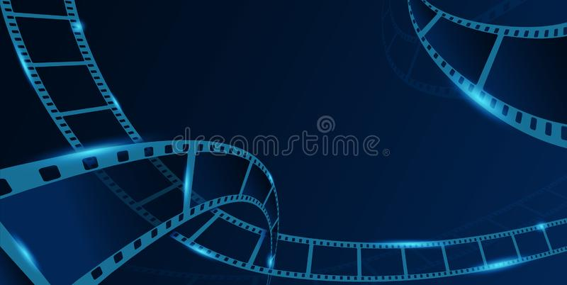 Collection film strip frame isolated on blue background. Old cinema banner with stripe roll. Art design reel cinema filmstrip vector illustration