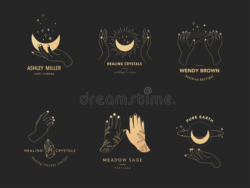 Collection of fine, hand drawn style logos and icons of hands. Esoteric, fashion, skin care and wedding concept stock illustration