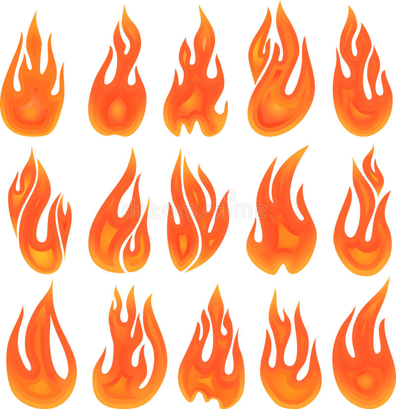 Collection of fires isolated on white.  royalty free illustration