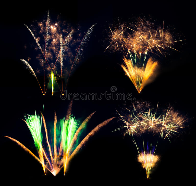 Collection of fireworks explosions isolated on black background. Celebration and success stock photos