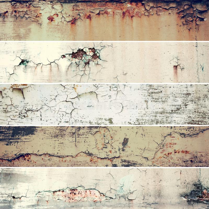 Collection of five long and narrow images with vintage grunge rusty old metal texture, abstract background stock image