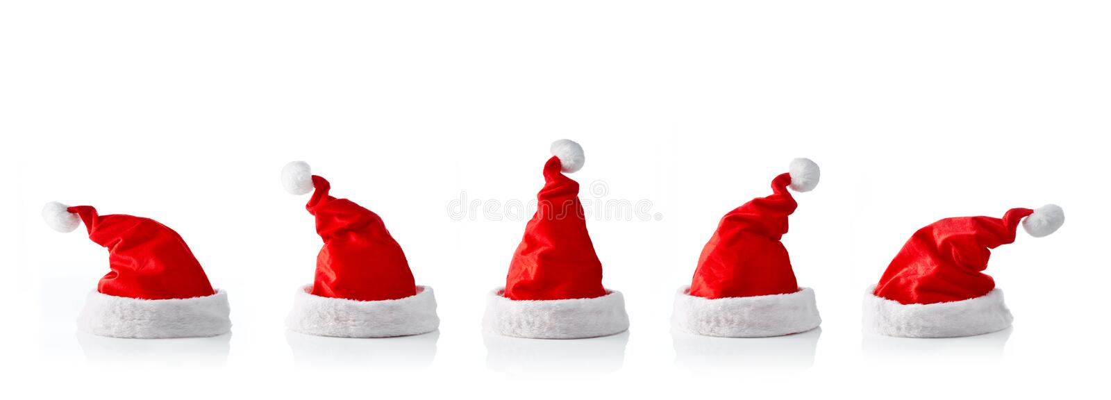 Collection of five santa hats. On white background royalty free stock photography