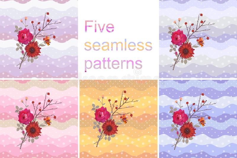 Collection of five seamless patterns or greeting cards with bright bouquet on multicolor polka dot background. vector illustration