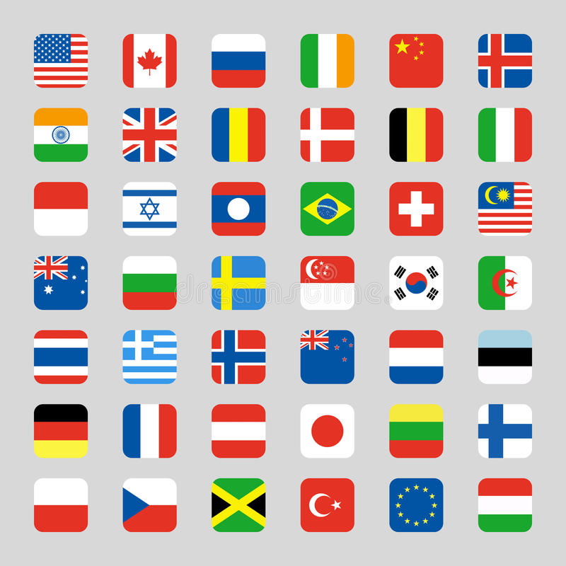 Collection of flag icon rounded square flat vector illustration royalty free illustration