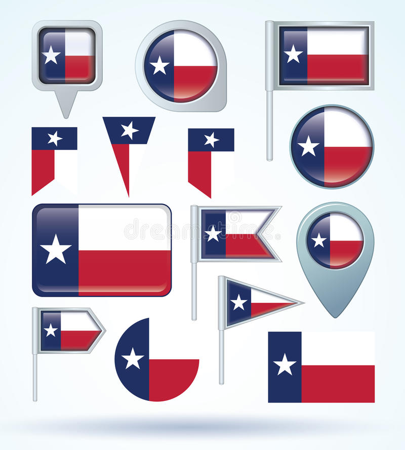 Collection Flag of Texas, vector illustration.  royalty free illustration